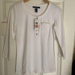 Karen Scott white long sleeve top